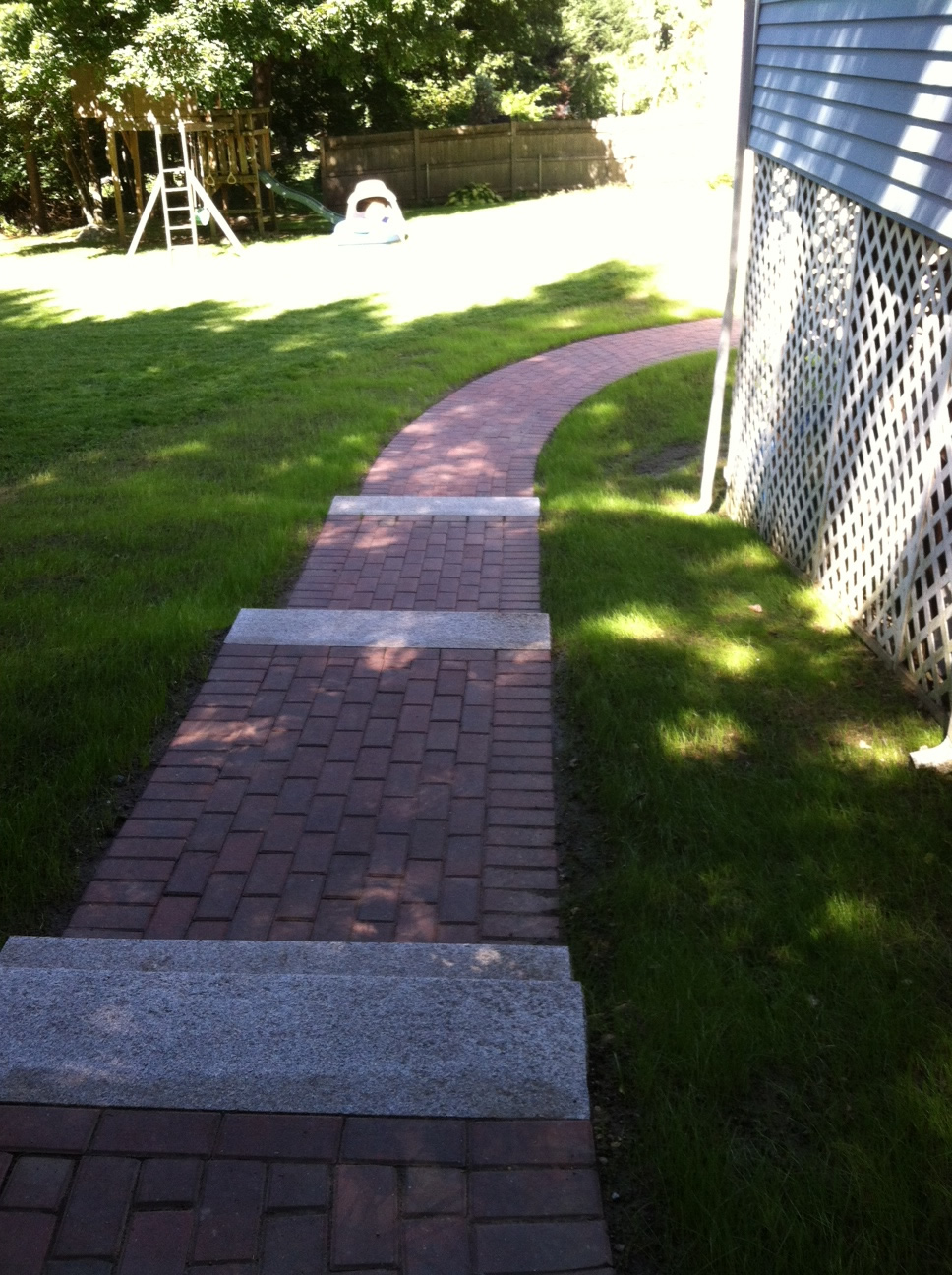 Brick & Granite Walkway installed in Lexington, MA by TPM Construction.